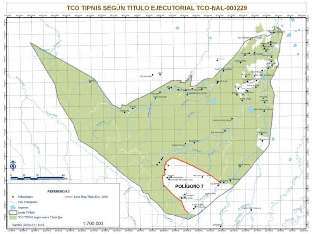 TIPNIS national park and indigenous territory. White areas have been deforested. The area in the south known as Poligono 7 has been occupied mainly by coca growers and is no longer part of the indigenous autonomous territory: Bolivian Agency for Protected Areas (credit: SERNAP August 2011)