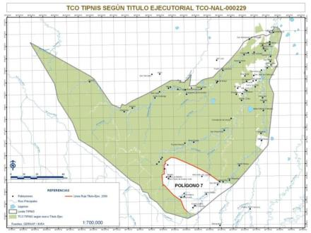 TIPNIS national park and indigenous territory. White areas have been deforested. The area in the south has been occupied by coca growers and is no longer part of the indigenous territory (Bolivian Agency for Protected Areas SERNAP, August 2011)