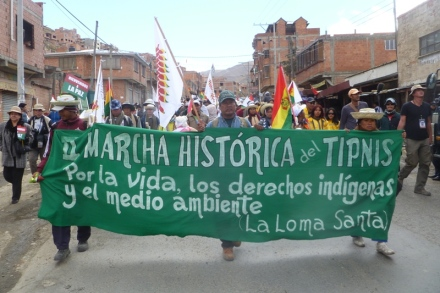 Anti-road march arrives in La Paz October 2011 (credit: Dario Kenner)