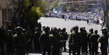 Medical students clashed with Bolivian police (credit: Mike Murray)
