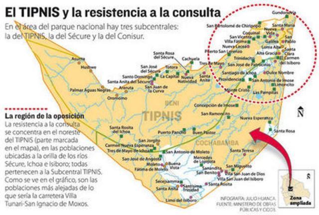 Resistance to consultation process in the TIPNIS (credit: La Razón)