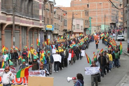 Salaried miner protest with the Bolivian Workers Central in La Paz (credit: Gonzalo Ordóñez)